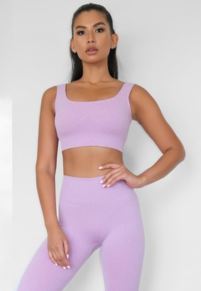 Missguided Lilac Rib Seamless Sports Bra
