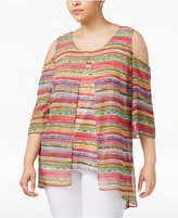 NY Collection Plus Size Cold-Shoulder Printed Tunic