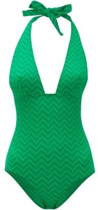 Eres Zigzag Seersucker Halterneck Swimsuit - Womens - Green