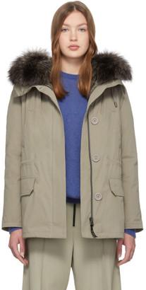 Yves Salomon Army Khaki Fur-Lined Jacket