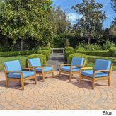 Christopher Knight Home Grenada Outdoor Wooden Club Chair w/ Cushions (Set of 4)