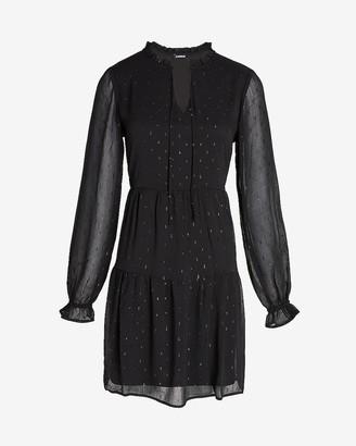 Express Metallic Clip Dot Tiered Tie Neck Dress