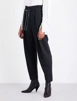 3.1 Phillip Lim Belt-detail high-rise paperbag waist cotton-blend trousers