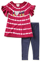 Flapdoodles Little Girls 2T-6X Sequin Tie-Dye Dress & Denim Leggings Set