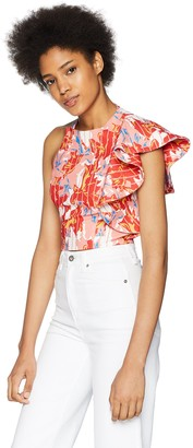 C/Meo Women's Entice HIGH Neck Cropped ONE Sleeve Ruffle Detail TOP