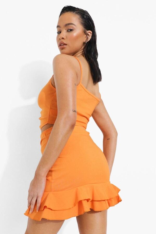 Thumbnail for your product : boohoo Ruffle Sweetheart Crop & Skirt Set