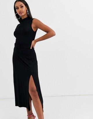 Lipsy high neck midi dress-Black
