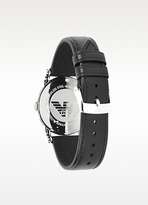 Emporio Armani Classic White Dial and Black Leather Strap Women's Watch