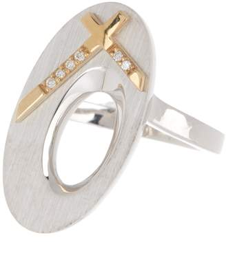 Breuning Two-Tone Diamond Cross Sterling Silver Ring - 0.03 ctw
