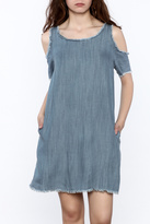 Elan Denim Cold Shoulder Dress