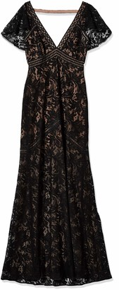BCBGMAXAZRIA Azria Women's Katrina Short Cape Sleeved Lace Knit Evening Dress