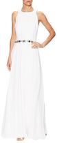 Carolina Herrera Embellished Pleated Slit Gown