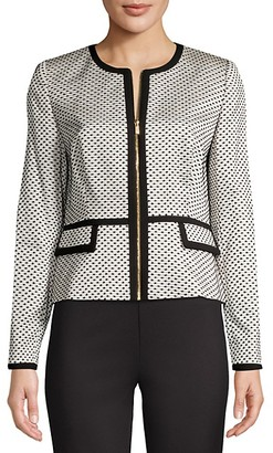 Calvin Klein Dotted Piped Zip-Front Jacket
