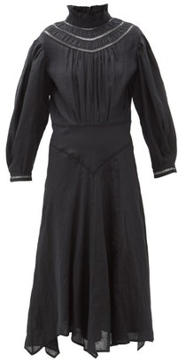 Etoile Isabel Marant Albane Handkerchief-hem Linen Dress - Womens - Black