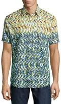Robert Graham Kalawo Multi-Print Short-Sleeve Sport Shirt, Multi