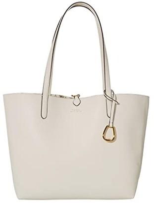 Lauren Ralph Lauren Faux Pebble Grain Reversible Tote Medium (Vanilla Mini Chain Link) Handbags