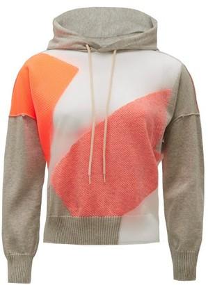 Junya Watanabe Graphic-jacquard Hooded Cotton-blend Sweatshirt - Womens - Grey Multi