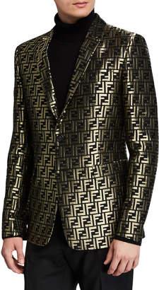 Fendi Men's Metallic FF Two-Button Jacket