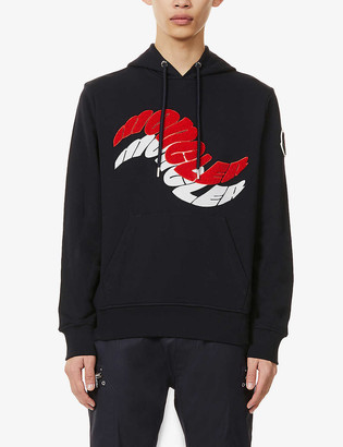 Moncler Brand-embroidered relaxed-fit cotton-jersey hoody