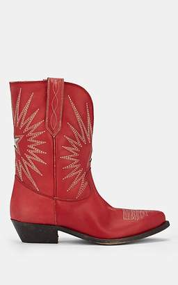 Golden Goose Women's Wish Star Distressed Leather Ankle Boots - Red