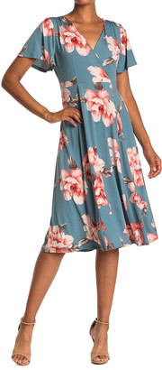 WEST KEI Floral Flutter Sleeve Midi Dress