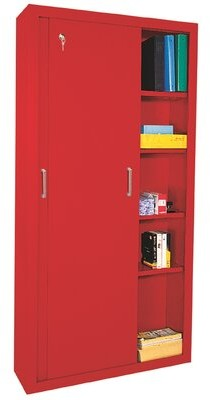 Sliding 2 Door Storage Cabinet Sandusky Cabinets Color: Red