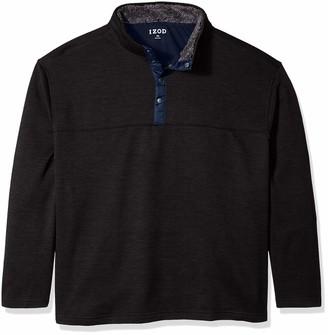 Izod Men's Big Premium Essentials Spectator Button Mock Neck Fleece Pullover