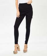 Bellino Black Wrap-Accent Leggings