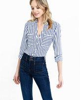 Express slim fit navy and white striped portofino shirt