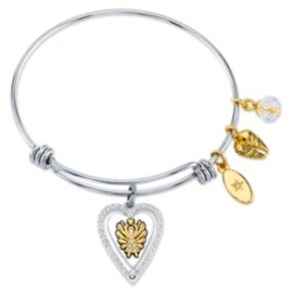 """Unwritten Angels Above Give Faith Hope and Love""""Angel Wing Bangle Bracelet in Stainless Steel & Gold-Tone with Silver Plated Charms"""
