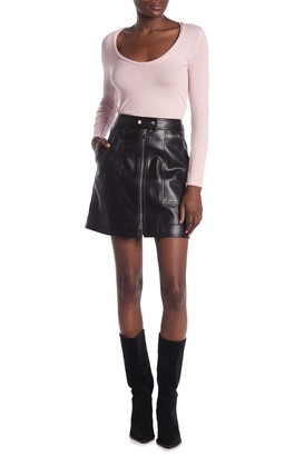 Diane von Furstenberg Dolores Faux Leather Zip Front Mini Skirt