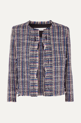 IRO Frannie Distressed Cotton-blend Tweed Jacket - Blue