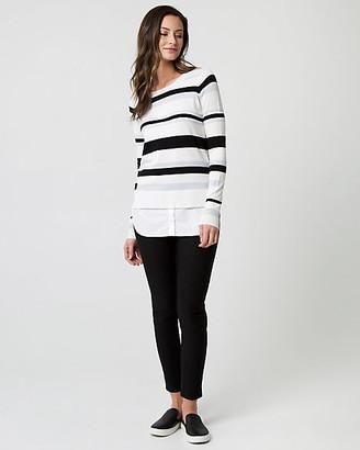 Le Château Stripe Knit & Woven 2-in-1 Sweater