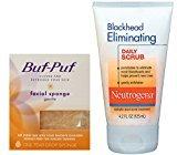 Buf-Puf Gentle Face Sponge + Neutrogena Blackhead Daily Scrub 4.2 oz