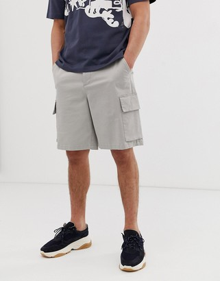 ASOS cargo shorts in putty heavyweight twill