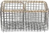 Nkuku Bagato Wire Baskets - Grey & Wicker - Set of 3