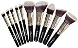 IDEA Makeup Brush Set - Foundation Kabuki Powder - Blush Concealer Kit - Premium Synthetic Bristles - 10 Piece Collection With Eye and Face Cosmetic Brushes - Eyeliner Contour Bronzer Eyeshadow - Perfect For Liquid, Cream or Minerals Products