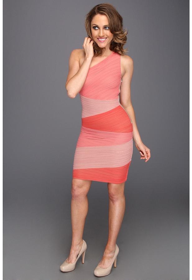 BCBGMAXAZRIA Kira One Shoulder Colorblock Dress (Pink Combo) - Apparel