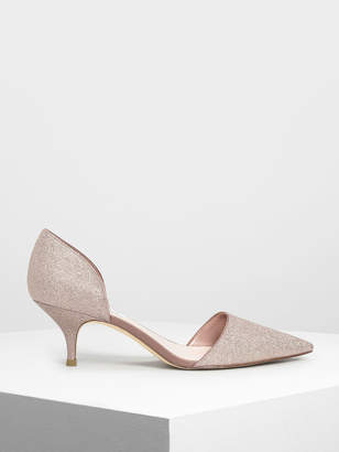 Charles & Keith D'Orsay Glitter Fabric Kitten Heel Pumps