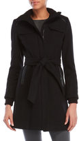 Vince Camuto Faux Leather-Trimmed Blended Wool Coat