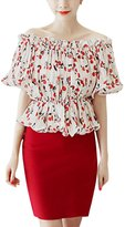 uxcell Women Off Shoulder Short Sleeves Cherry Prints Casual Tops