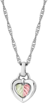 """Black Hills Gold Heart Pendant 18"""" Necklace in Sterling Silver with 12K Rose and Green Gold"""