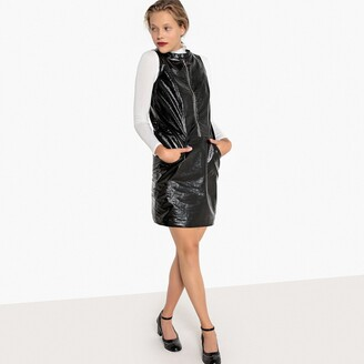 Zip-Front PVC-Effect Short Dress