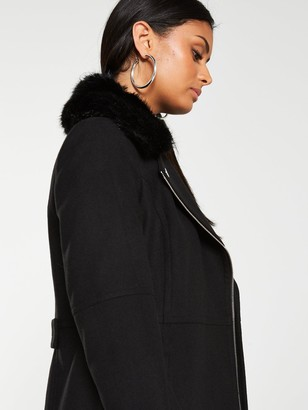 Very FauxFur Trim Asymmetric Zip Coat - Black