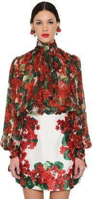 Dolce & Gabbana DRAPED FLORAL PRINT SILK CHIFFON BLOUSE
