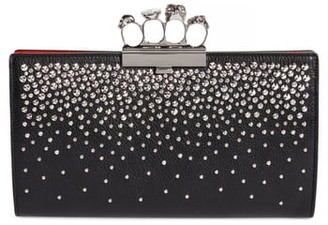 Alexander McQueen Studded Knuckle Clasp Leather Clutch