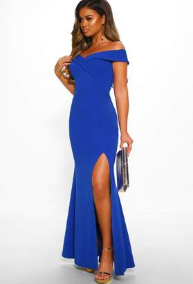 Pink Boutique Dainty Delight Royal Blue Bardot Front Split Maxi Dress