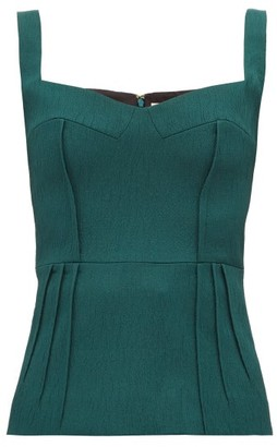 Emilia Wickstead Judy Sweetheart Neckline Cloque Top - Womens - Dark Green