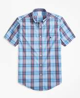 Brooks Brothers Non-Iron Regent Fit Red and Blue Plaid Short-Sleeve Sport Shirt