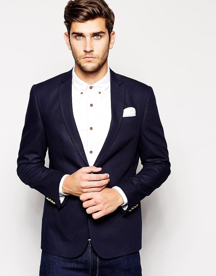 Asos Slim Fit Blazer With Gold Buttons